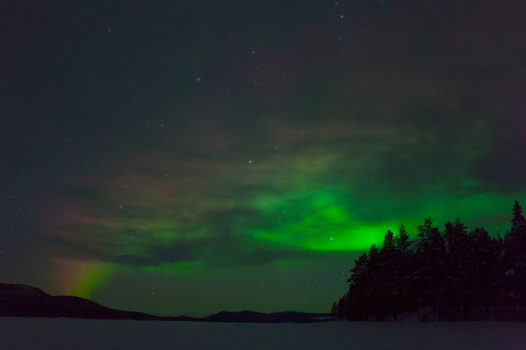 Aurora borealis on a lake at Jokkmokk Sweden